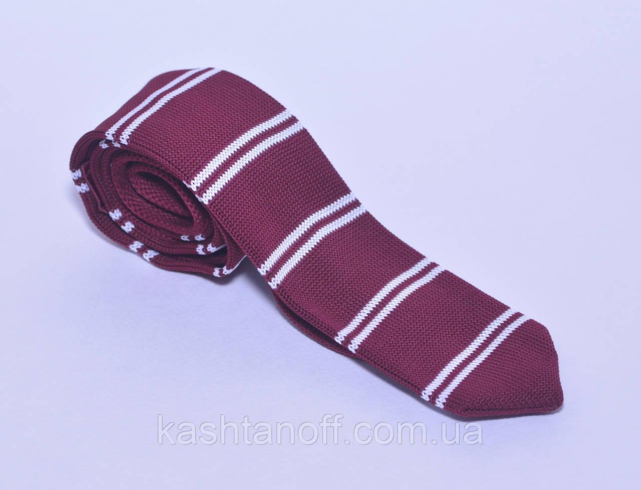 Бордовый вязанный галстук в белую полоску