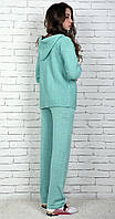 Женский вязаный костюм Коттон с кардиганом мятный