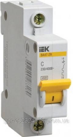 Однополюсный автоматический выключатель 1А ВА47-29 1P 1A 4,5кА IEK