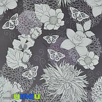 Упаковочная бумага Цветы, Серая, 73х100 см, 1 лист (UPK-019231)