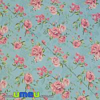 Упаковочная бумага Цветы, Голубая, 68х100 см, 1 лист (UPK-019244)