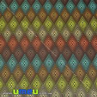 Упаковочная бумага Ромбы, Коричневая, 73х100 см, 1 лист (UPK-019233)