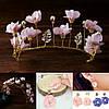 Тіара діадема і сережки набір Лаура корона для волосся Тіара Вікторія весільна прикраси тіари, фото 5