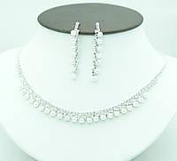 142. Свадебные женские украшения с жемчугом- колье с сережками на опт.