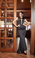 Шикарное черное  платье в пол с баской. Арт-2067/22