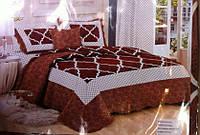 Стеганое покрывало с наволочками 220*240 с узором коричневое, фото 1