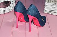 Туфли лодочки джинсовые,розовая подошва р.36,40