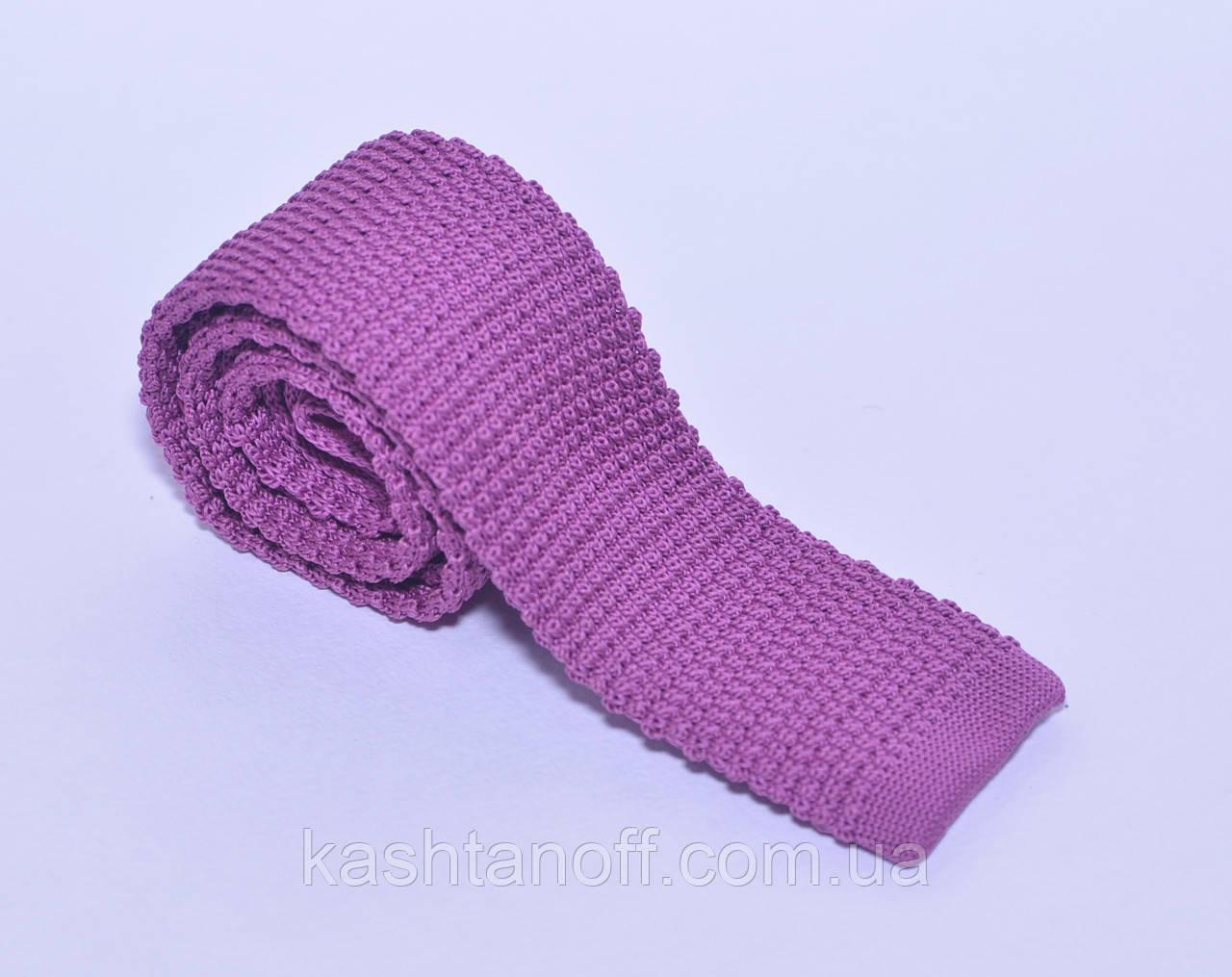 Сиреневый вязанный галстук