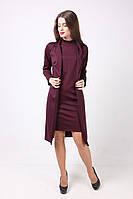 Женский костюм цвета марсала из платья без рукавов прямого кроя и кардигана