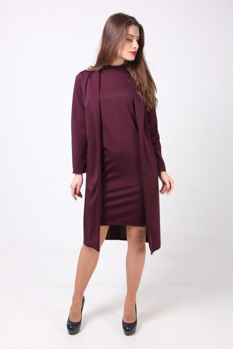 022321bef56f797 Женский костюм цвета марсала из платья без рукавов прямого кроя и кардигана,  ...