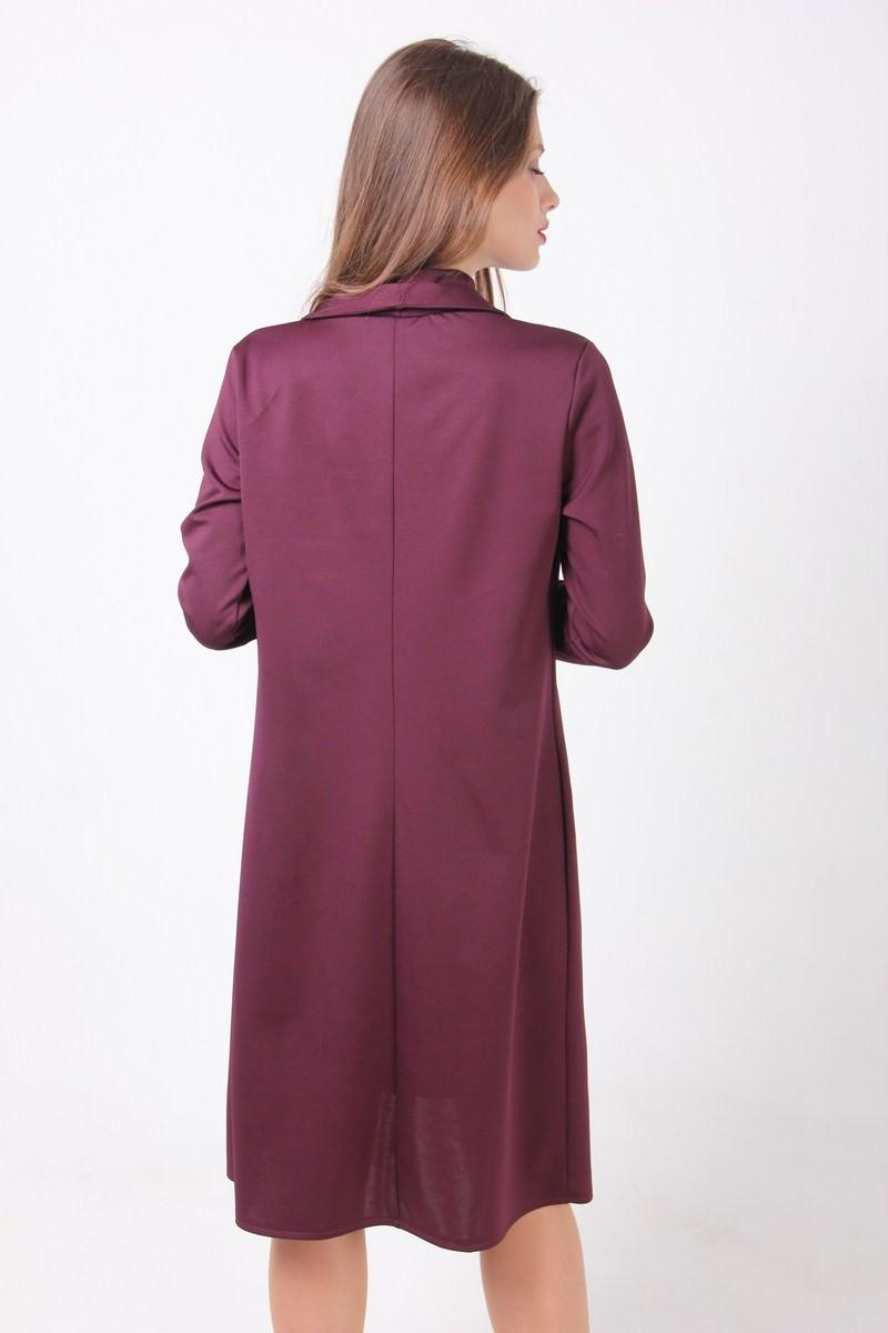 59325df97df2feb ... Женский костюм цвета марсала из платья без рукавов прямого кроя и  кардигана, фото 3