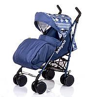 """Синяя Детская Прогулочная коляска-трость Babyhit """"Везунчик"""" с амортизацией, антимоскитной сеткой, ремнями"""