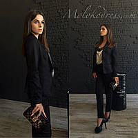 Модный черный  брючный костюм на подкладке. Арт-2070/22