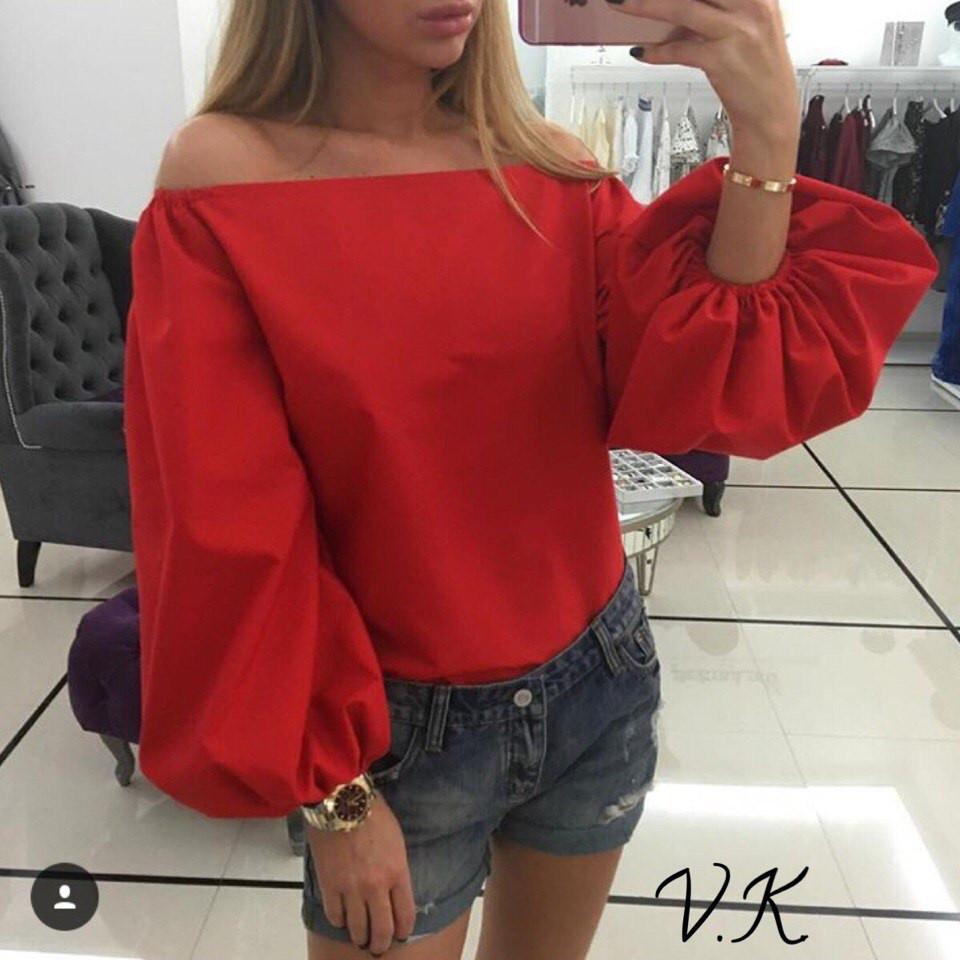 Пышная блуза хлопковая(разные цвета)