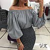 Пышная блуза хлопковая(разные цвета), фото 5