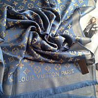 Женский палантин Louis Vuitton женский шарф синий голубой с люрексом