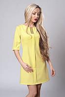 Молодежное желтое женское платье