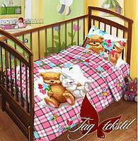 Комплект в кроватку с простынью на резинке Детство