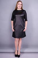 Стильное черное платье Чикаго кожа стёганка