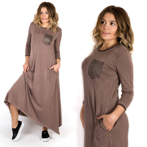 Женское платье 17519 бежевого цвета, фото 2