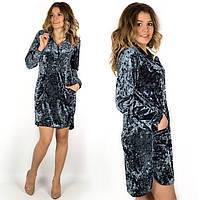 Бархатное платье-рубашка 17520 серого цвета