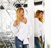 Модная белая  женская коттоновая рубашка. Арт-2074/22