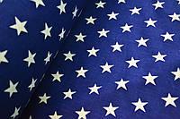 """Польская хлопковая ткань """"звезды белые на синем"""""""