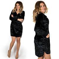 Бархатное платье-рубашка 17520 черного цвета