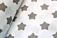 """Польская хлопковая ткань """"звезды серые крупные (пряники) на белом"""""""