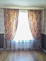 Прямые шторы с тюлем
