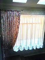 Воздушный тюль и прямые шторы с подвесками
