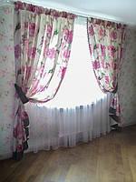 Цветочные прямые шторы с тюлем