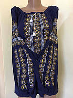 Шифонова вишита блуза синього кольору