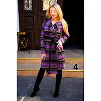 Пальто женское кашемировое с капюшоном фиолет 9042 №4,верхняя одежда женская