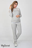 Стильные спортивные брюки для беременных Noks, серый меланж+серый жаккард