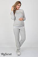 Стильный костюм для беременных Sport, серый меланж+серый жаккард