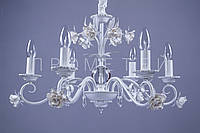 Люстра классическая на 6 лампочек W-G (бело-золотая) P13-RM6009/6/W-G