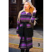 Пальто женское кашемировое с меховыми карманами 9044 -4 фиолет,верхняя одежда женская