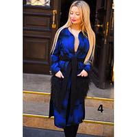 Пальто женское кашемировое с меховыми карманами 9044 -4 синее,верхняя одежда женская