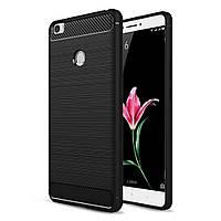 Чехол накладка для Xiaomi Mi MAX силиконовый Carbon Fibre, Черный