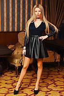 Женская юбка-трапеция, эко-кожа на резинке