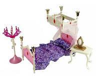 Мебель для куклы 1214 Спальня (кровать, столик, торшер)
