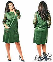 Батальное зеленое платье с карманами и выбитыми рукавами. Арт-2078/21