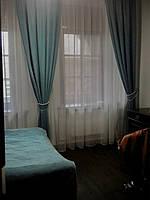 Прямые шторы с подхватами и воздушным тюлем