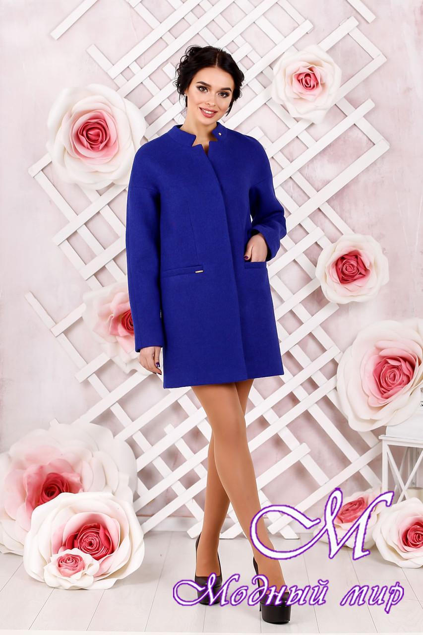 Элегантное женское демисезонное пальто голубого цвета  (р. 44-62) арт. 997 Тон 8