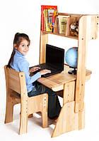 Комплект стол-парта + стул+ надстройка для детей из натурального дерева (с пеналом) 90 см. С-884+С-887+Н892