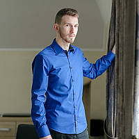 Рубашка мужская цвета синий электрик с налокотниками