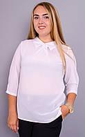 Кортни. Женская блузка больших размеров. Белый.