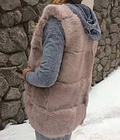 Детская жилетка из натурального меха кролика в поперечной раскладке