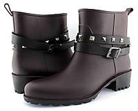 Стильные женские резиновые ботинки, бордовые, весенние. Низкий, удобный каблук.
